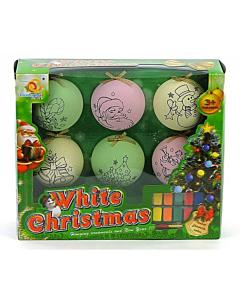 Jõulupallid riputusaasaga + värvid / 6tk